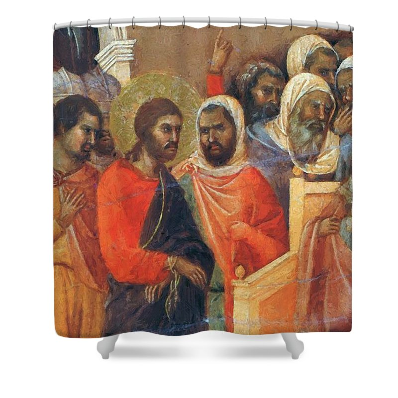 Christ Shower Curtain featuring the painting Christ Before Caiaphas Fragment 1311 by Duccio