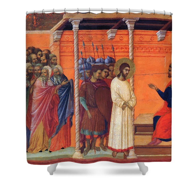 Christ Shower Curtain featuring the painting Christ Before Pilate 1311 by Duccio