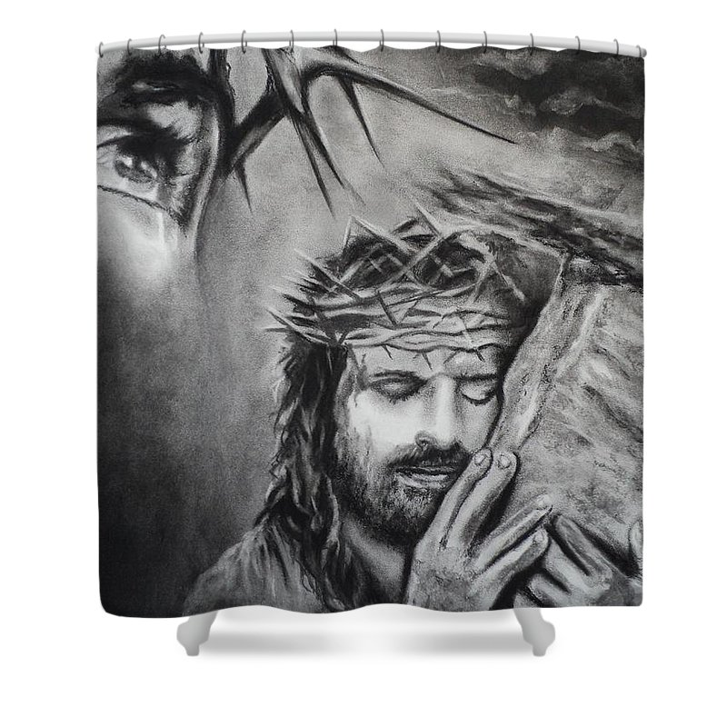 Christ Shower Curtain featuring the drawing Christ by Carla Carson