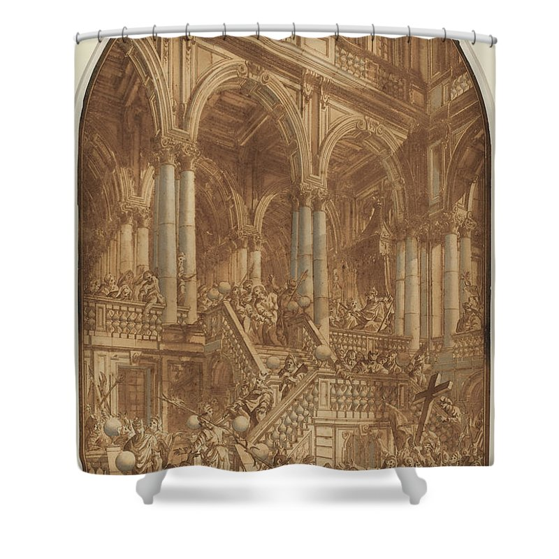 Shower Curtain featuring the drawing Christ Led Captive From A Palace by Giuseppe Galli Bibiena