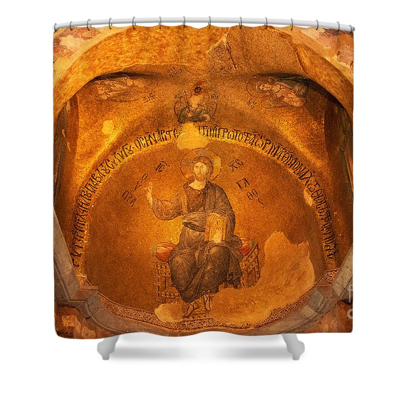 Fatih Shower Curtain featuring the photograph Christ Mosaic by Bob Phillips