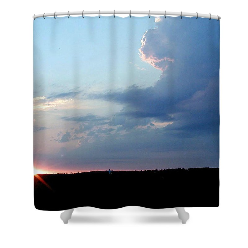 Sunrise Shower Curtain featuring the photograph Christ Of The Ozarks by Forrest Shaw