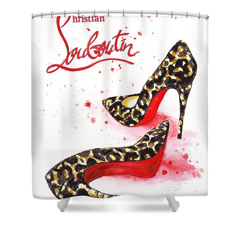 Christian Louboutin Shoes Print Shower Curtain for Sale by Del Art