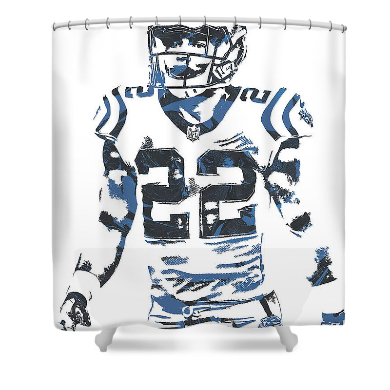 Christian Mccaffrey Shower Curtain Featuring The Mixed Media Carolina  Panthers Pixel Art 2 By