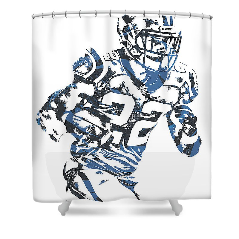 Christian Mccaffrey Shower Curtain Featuring The Mixed Media Carolina Panthers Pixel Art 3 By