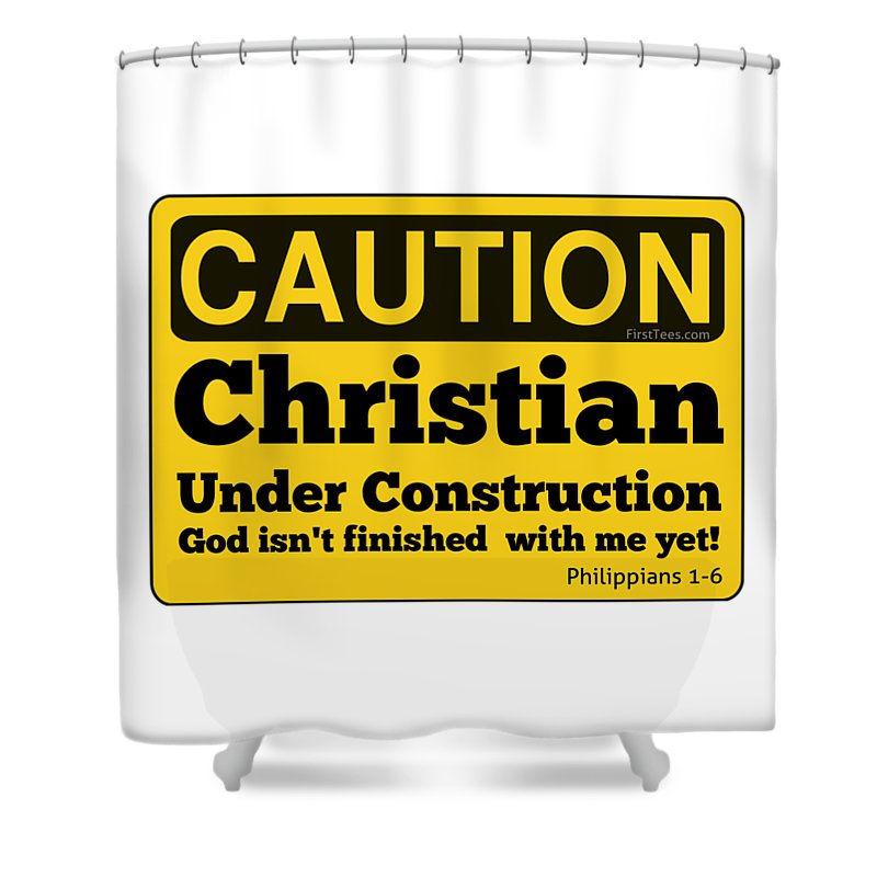 Christian Under Construction Shower Curtain For Sale By Motivational Artwork