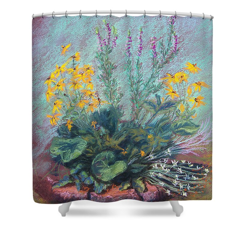 Flowers Shower Curtain featuring the painting Christina's Garden by Laurie Paci