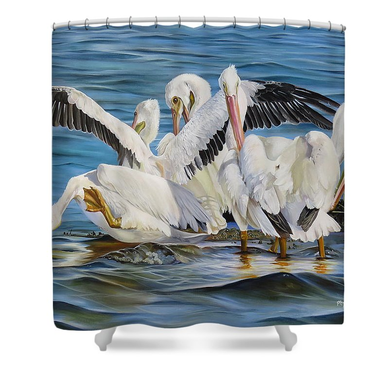 Bird Shower Curtain featuring the painting Christmas At Half Moon Island by Phyllis Beiser