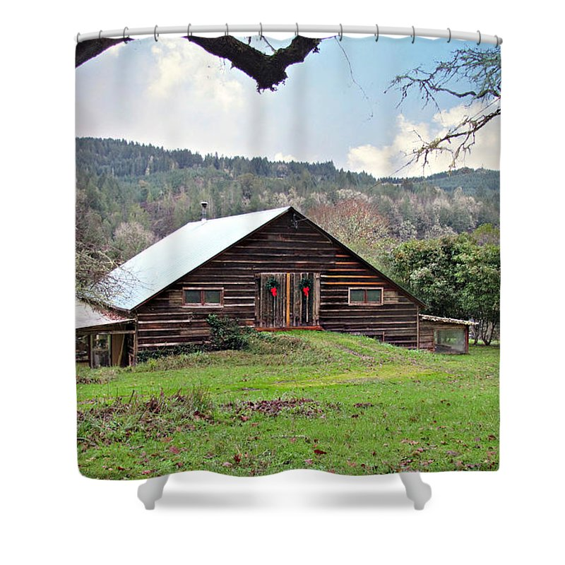Barn Shower Curtain featuring the photograph Christmas Barn by Katie Wing Vigil