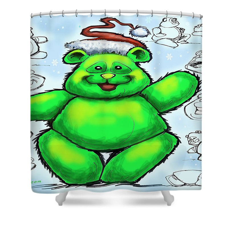 Christmas Shower Curtain featuring the greeting card Christmas Bear by Kevin Middleton