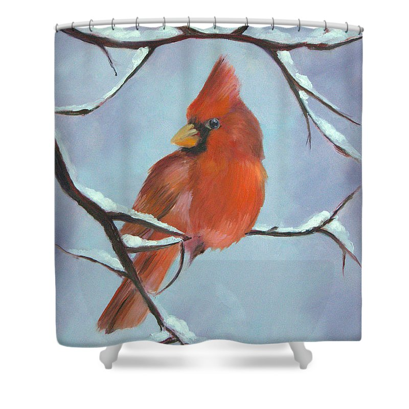 Christmas Cardinal Shower Curtain featuring the painting Christmas Cardinal by Jean Scanlin Wright
