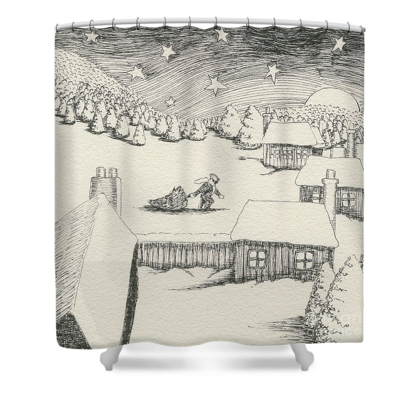 Christmas Shower Curtain featuring the drawing Christmas by Caroline Jennings