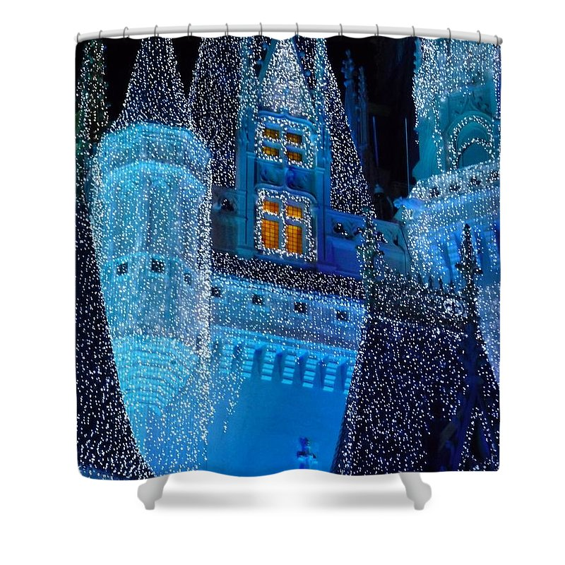 Cinderella Shower Curtain featuring the photograph Christmas Castle by Nora Martinez