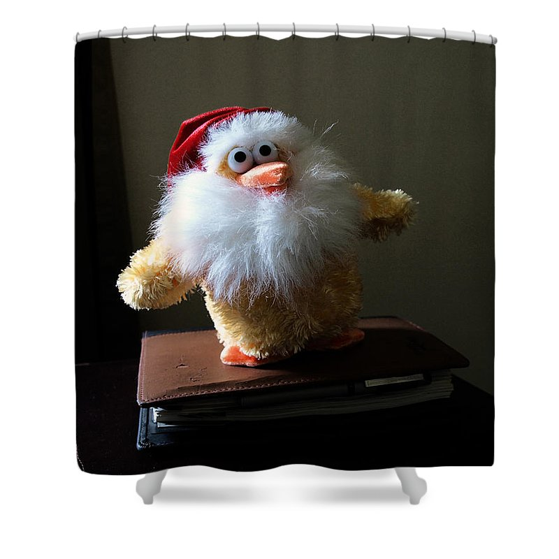 Chicken; Leftover; Appeal; Mercy; Bird; Fowl; Meal; Eat; Food; Pathos; Stuffed; Animal; Plead; Compa Shower Curtain featuring the photograph Christmas Chicken by Allan Hughes