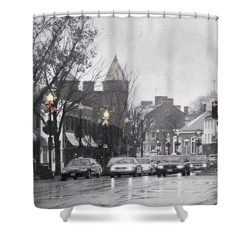 City Shower Curtain featuring the photograph Christmas City Street by Francesa Miller