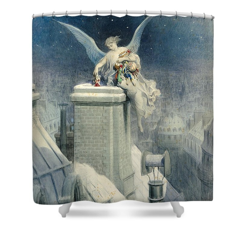 Christmas Shower Curtain featuring the painting Christmas Eve by Gustave Dore