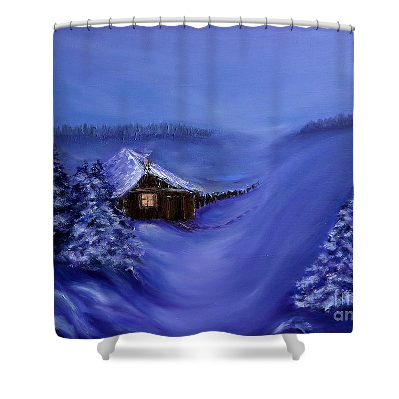 Christmas Shower Curtain featuring the painting Christmas Eve by Nina Nabokova