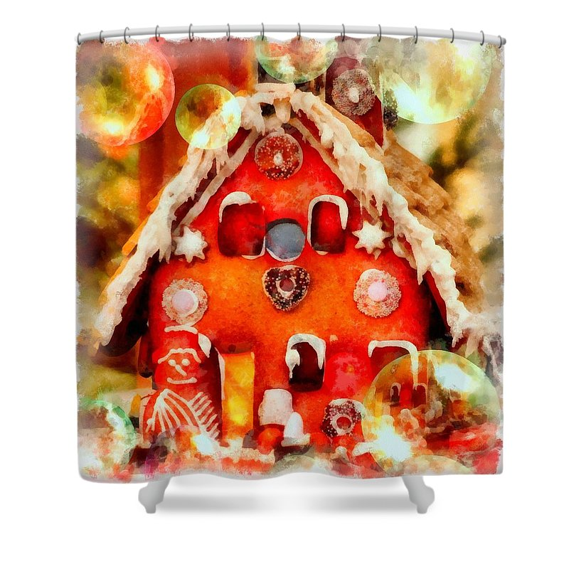 Christmas Shower Curtain Featuring The Painting Gingerbread House By Esoterica Art Agency