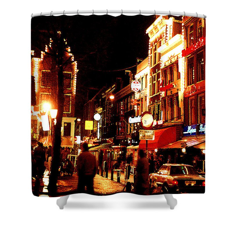 Night Shower Curtain featuring the photograph Christmas In Amsterdam by Nancy Mueller