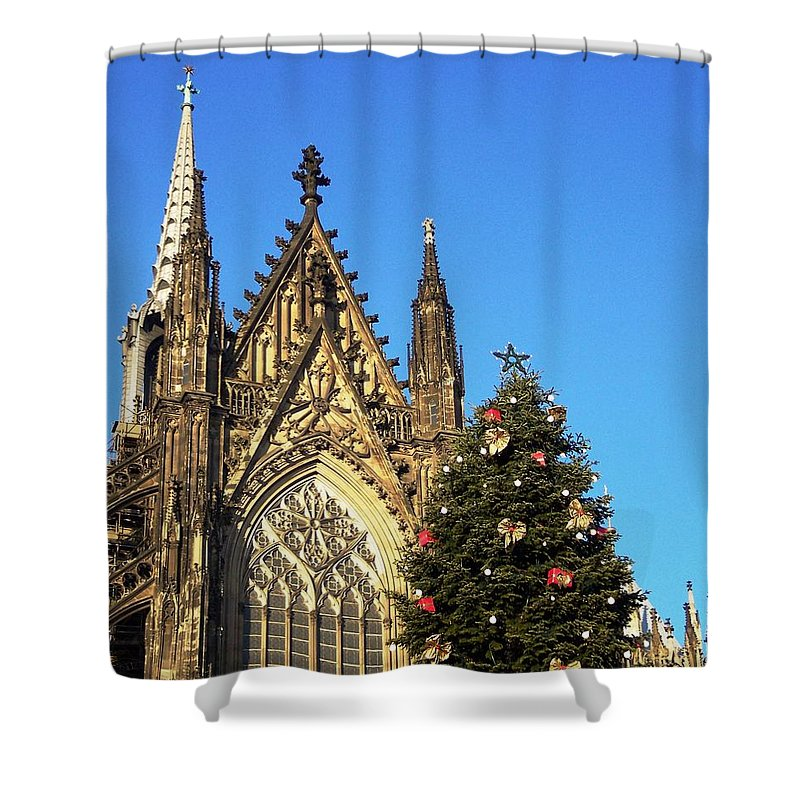 Cologne Cathedral Shower Curtain featuring the photograph Christmas In Cologne by Karen Quinker