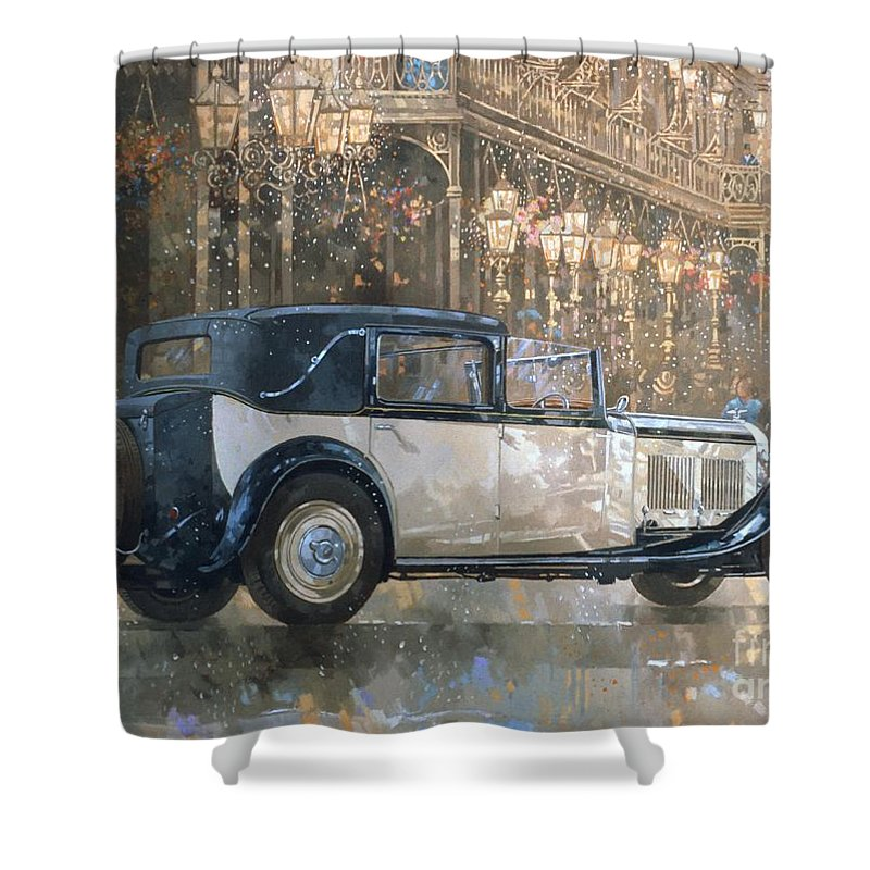 Christmas Lights And 8 Litre Bentley Shower Curtain for Sale by ...