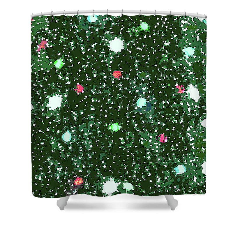 Christmas Lights Shower Curtain featuring the digital art Christmas Lights No. 7-1 by Sandy Taylor