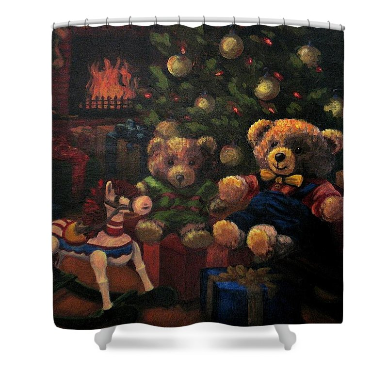 Christmas Shower Curtain featuring the painting Christmas Past by Karen Ilari