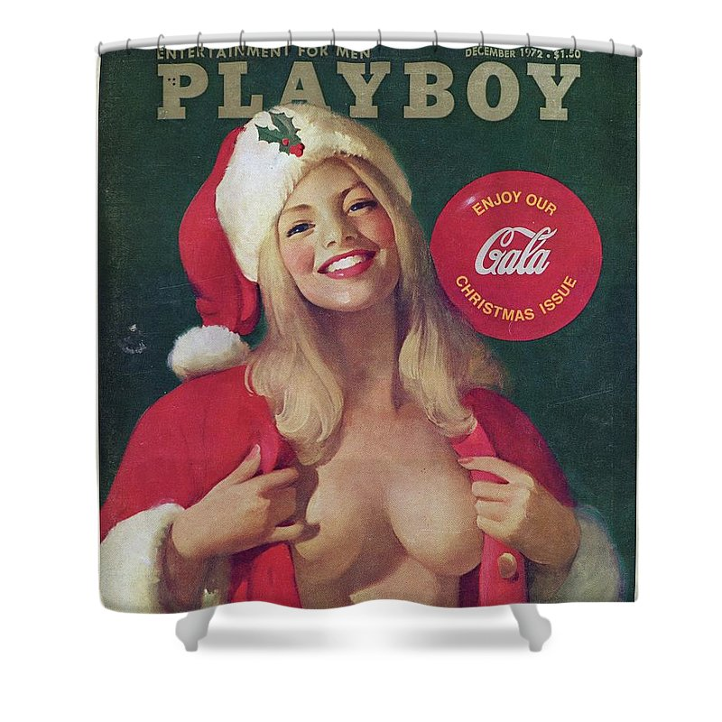 Christmas Playboy Vintage Cover Shower Curtain For Sale By
