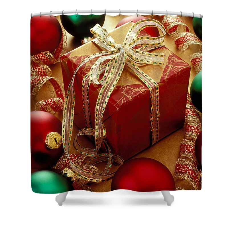 Christmas Shower Curtain featuring the photograph Christmas Present And Ornaments by Garry Gay