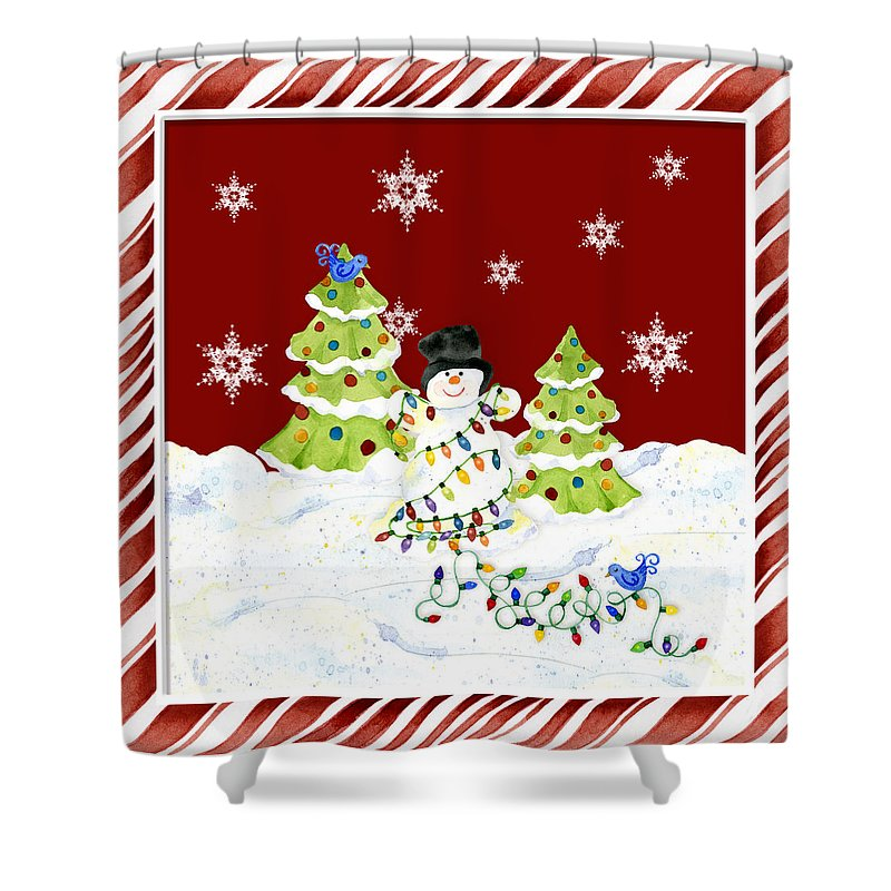 Whimsical Shower Curtain Featuring The Painting Christmas Snowman W Lights N Trees Snowflakes Candy Cane Stripes