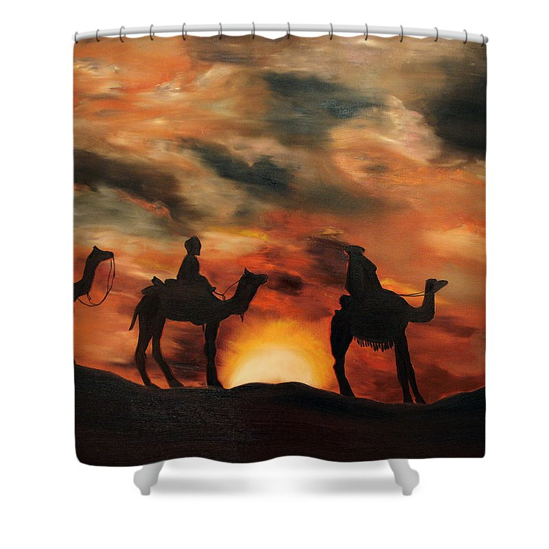 Star Shower Curtain featuring the painting Christmas Star by Valentyna Pylypenko