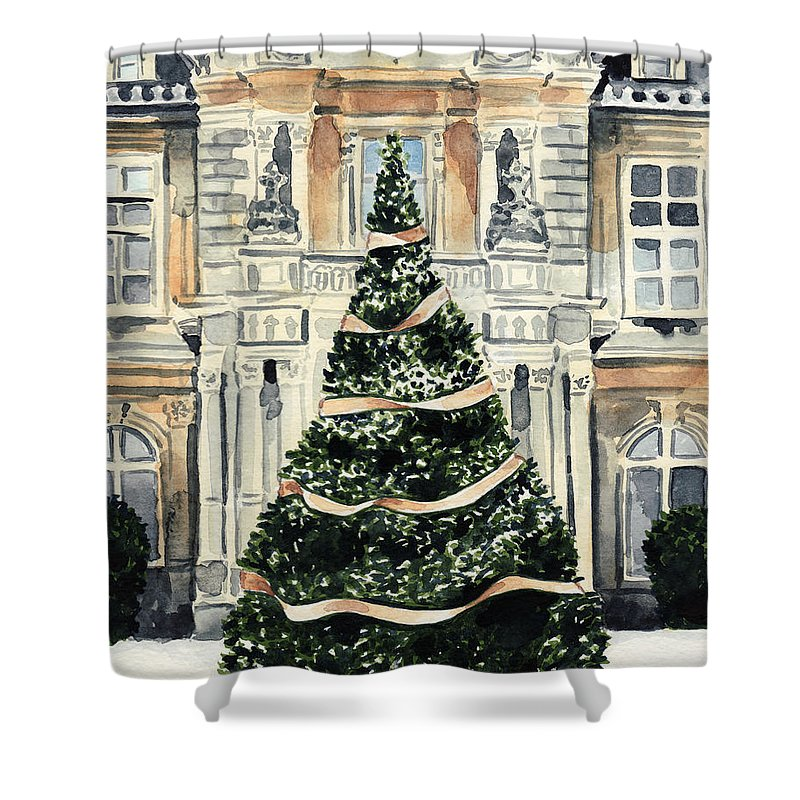 Christmas Tree Shower Curtain featuring the painting Christmas Tree At Versailles French Chateau Holiday by Laura Row