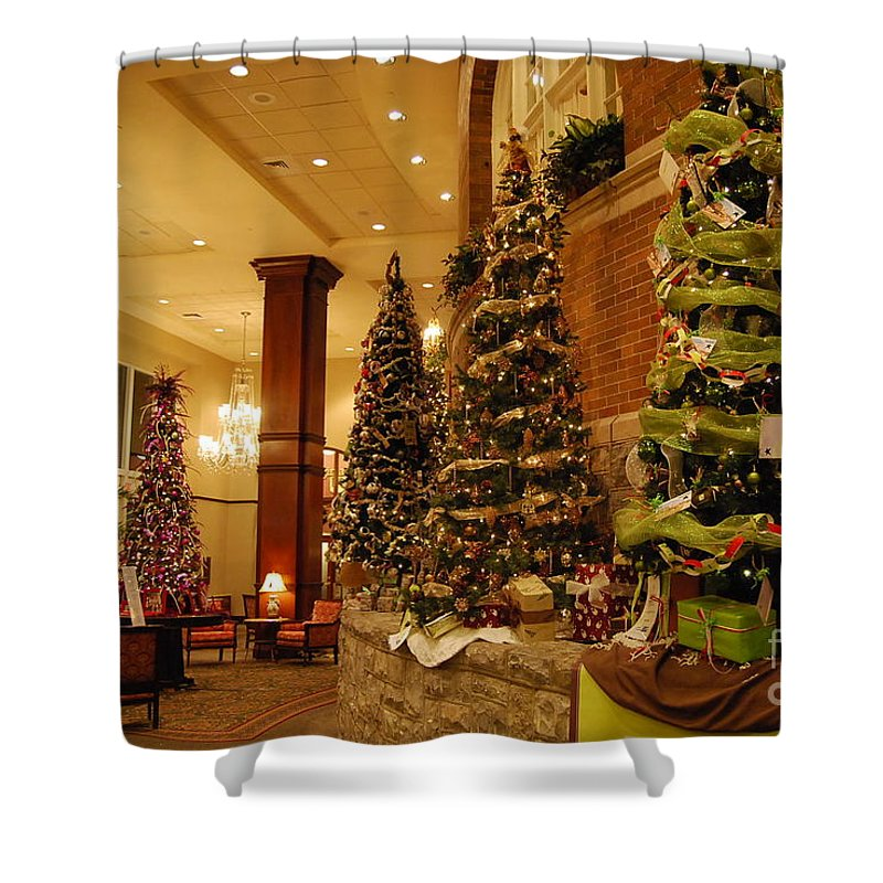 Christmas Shower Curtain featuring the photograph Christmas Tree by Eric Liller