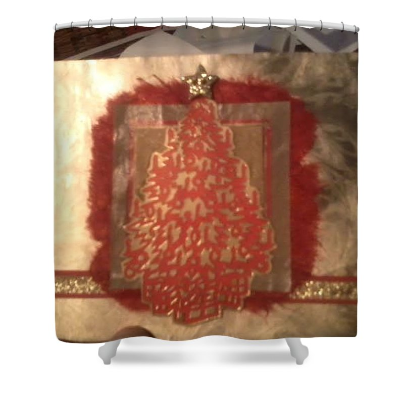 Red And Gold Christmas Card With Gold Glitter Star Shower Curtain featuring the mixed media Christmas Tree Greeting Card by Cynthia Perkins