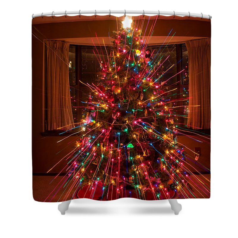 abstracts shower curtain featuring the photograph christmas tree light spikes colorful abstract by james bo insogna