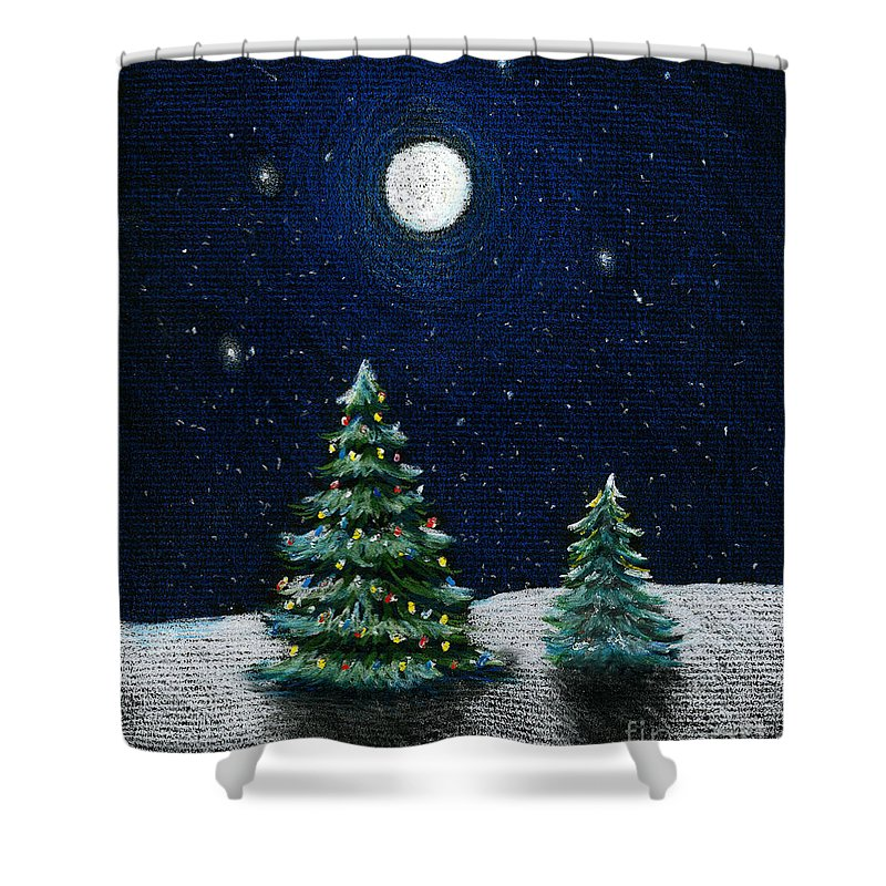 Christmas Trees Shower Curtain featuring the drawing Christmas Trees In The Moonlight by Nancy Mueller