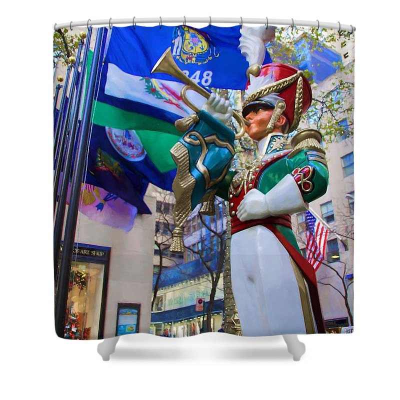 Alicegipsonphotographs Shower Curtain featuring the photograph Christmas Trumpeter At The Rock by Alice Gipson
