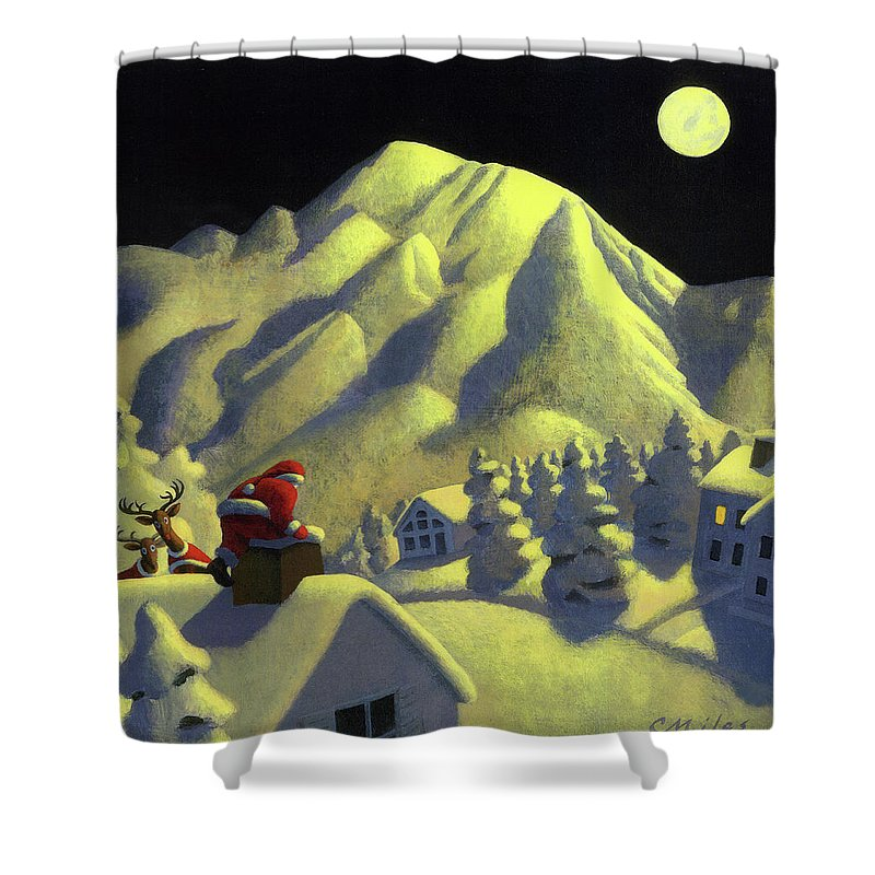 Christmas Shower Curtain featuring the painting Christmas Under Olympus by Chris Miles