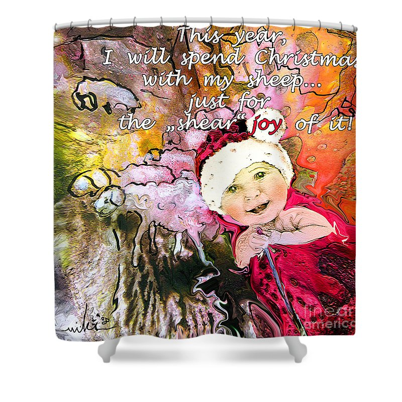 Acrylics Shower Curtain featuring the painting Christmas With My Sheep by Miki De Goodaboom