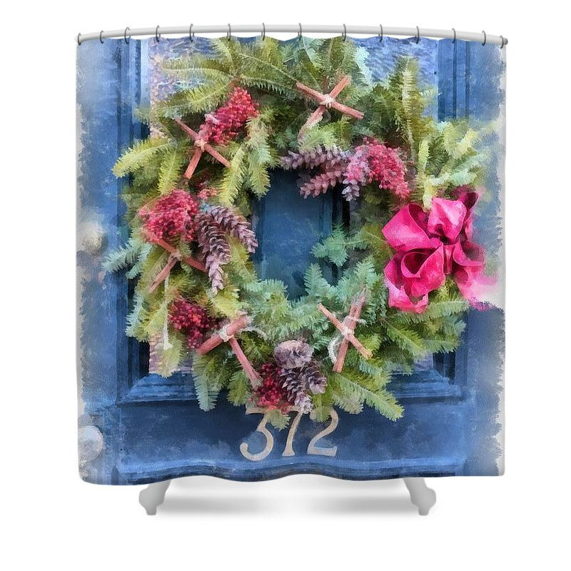Christmas Shower Curtain featuring the painting Christmas Wreath Watercolor by Edward Fielding