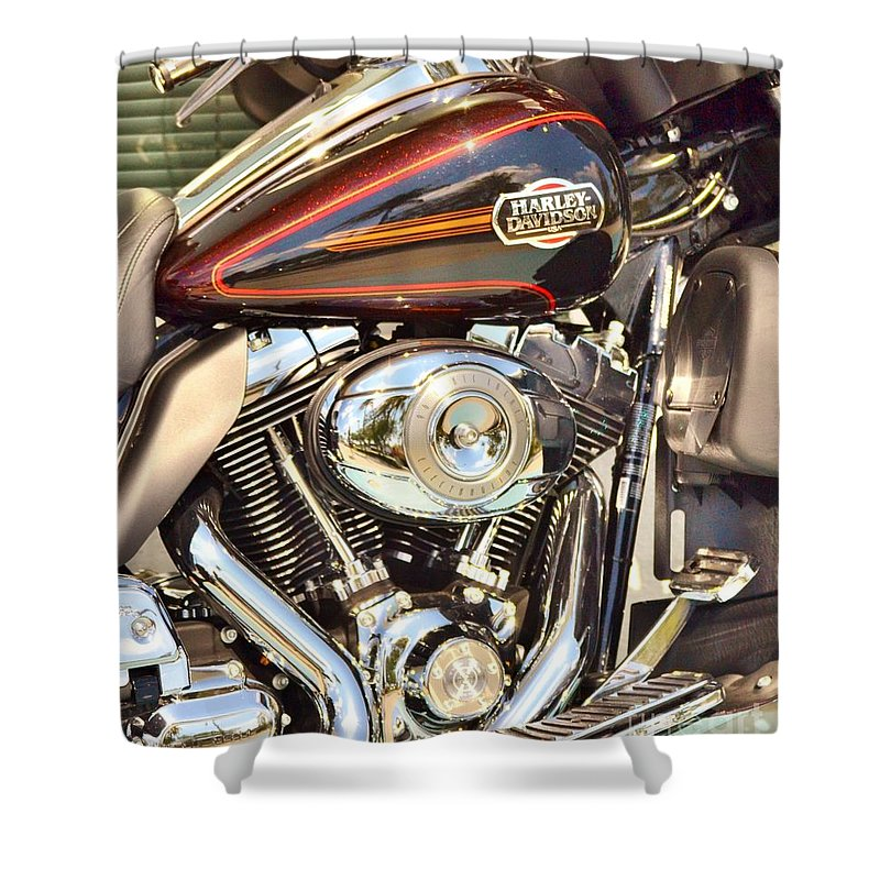 Harley Davidson Shower Curtain featuring the photograph Chrome Magnet by Rene Triay Photography