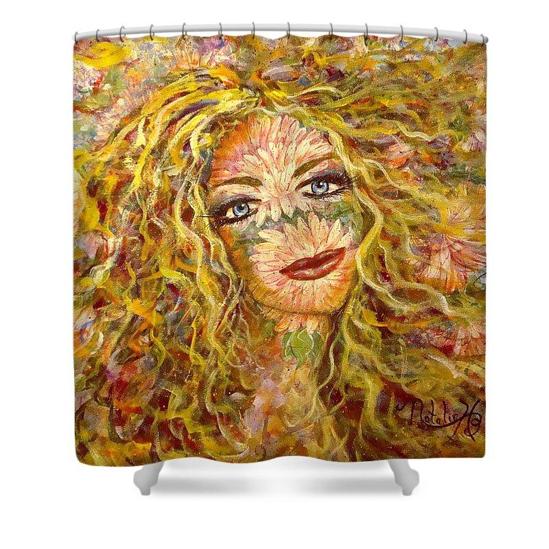 Chrysanthemum Shower Curtain featuring the painting Chrysanthemum Girl by Natalie Holland