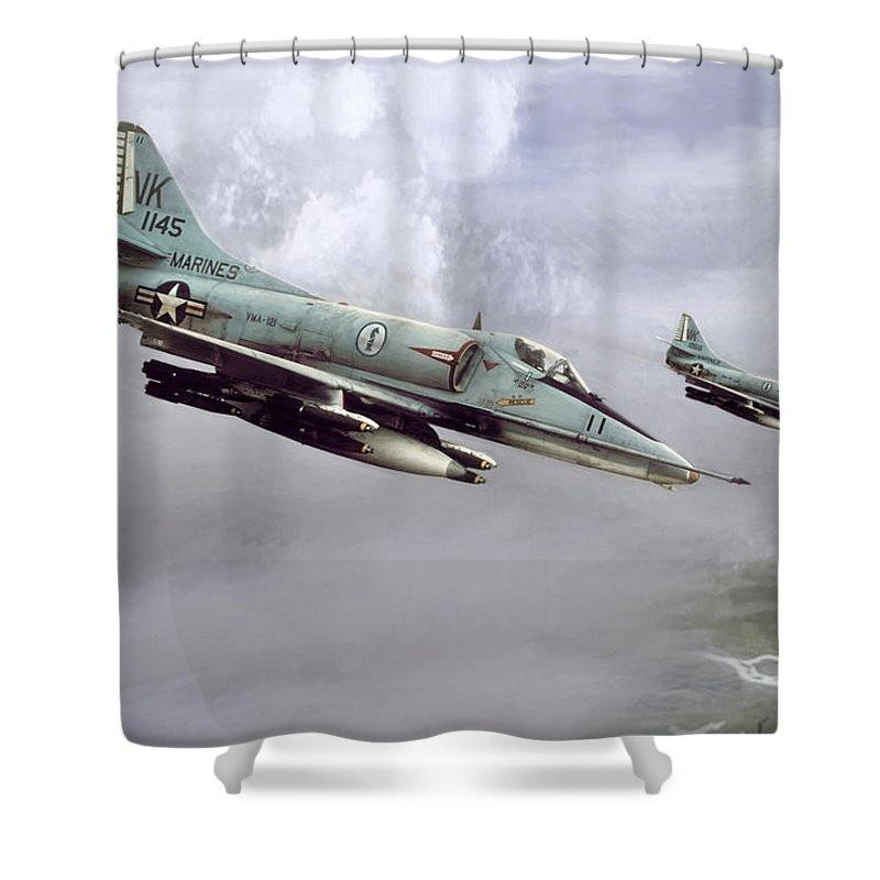 Aviation Shower Curtain Featuring The Digital Art Chu Lai Skyhawks By Peter Chilelli
