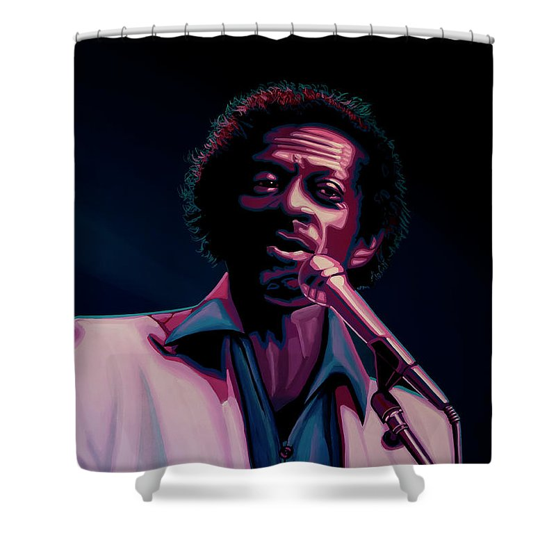 Chuck Berry Shower Curtain featuring the painting Chuck Berry by Paul Meijering