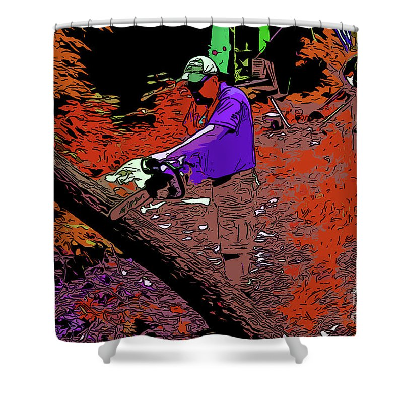 Shower Curtain featuring the digital art Chuck Chainsaw 2 by Chris Taggart