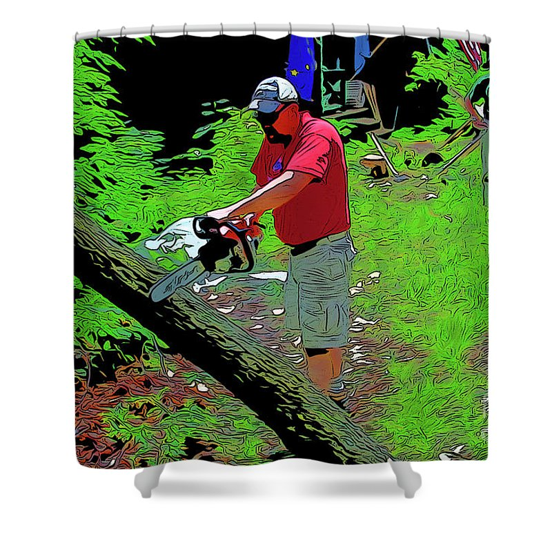 Chuck Chainsaw Shower Curtain featuring the digital art Chuck Chainsaw by Chris Taggart