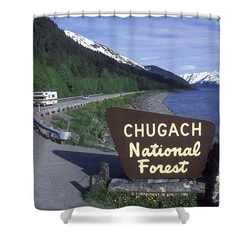 Roads Shower Curtain featuring the photograph Chugach National Forest Sign And Scenic by Rich Reid