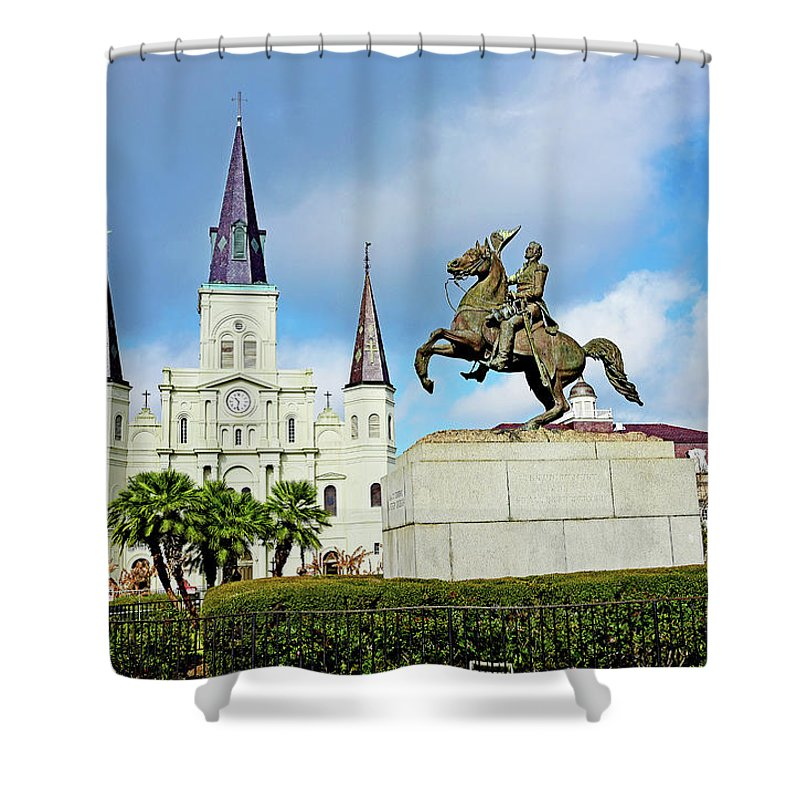 St. Louis Shower Curtain featuring the photograph Church And State by Evan Peller