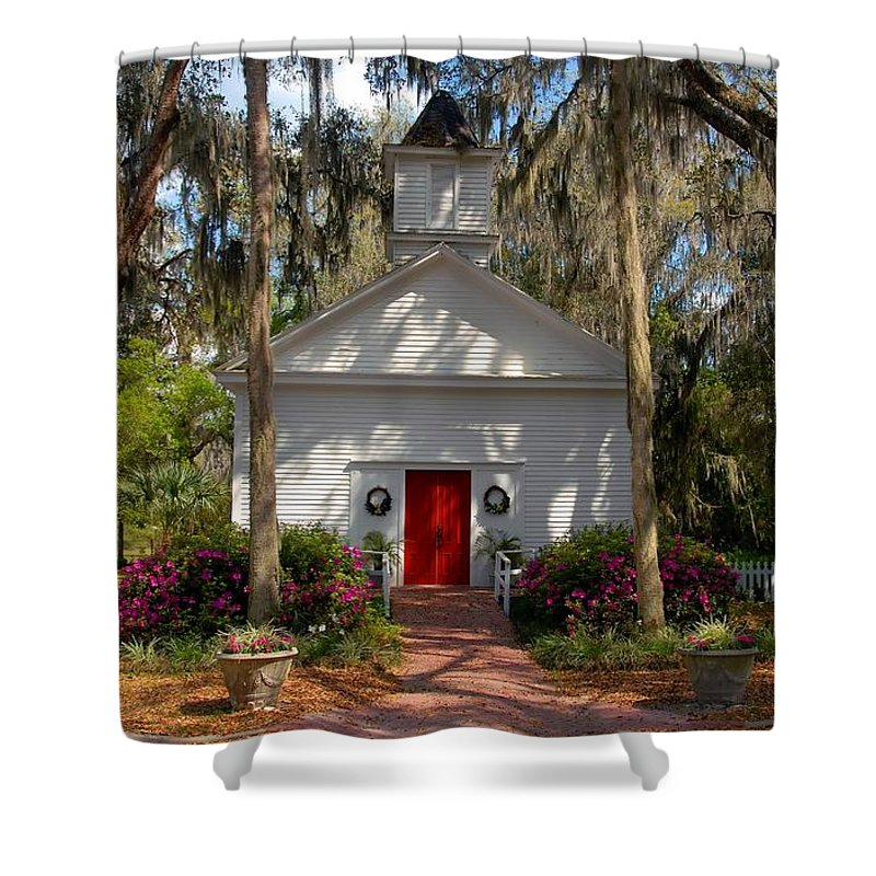 Micanopy Florida Shower Curtain featuring the photograph Church At Micanopy by David Lee Thompson