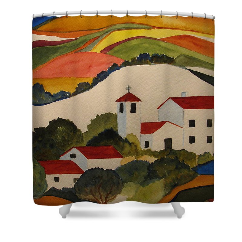 Shower Curtain featuring the painting Church by Donna Steward